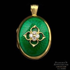 A truly beautiful Guilloche' style hand-enameled diamond locket from Charles Green in 18kt gold. The piece measures 30mm x 23mm. The piece contains .28ct. total weight in diamonds
