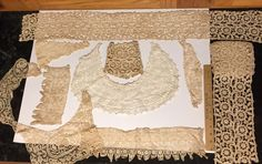 Vintage Lot of 9 pc Lace Fine Crocheted Collars Floral Insert Strips w/ Flowers