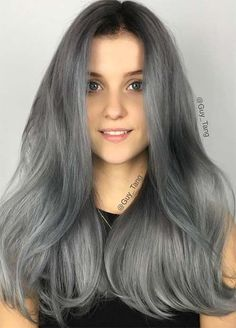 Granny Silver/ Grey Hair Color Ideas: Charcoal Grey Hair