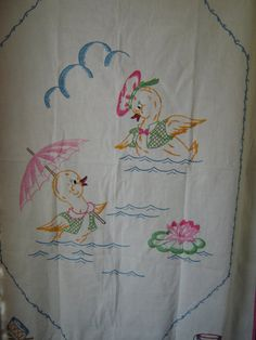 Hand Embroidered Vintage Baby Coverlet