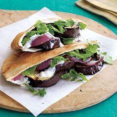 Grilled Eggplant Pita Sandwiches with Yogurt-Garlic Spread | CookingLight.com