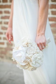 a little something different... an all fabric bouquet by http://www.etsy.com/shop/AutumnandGraceBridal  Photography by shannonmichelephotography.com