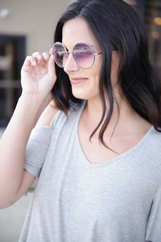 Retro Sunglasses (Silver/Purple)