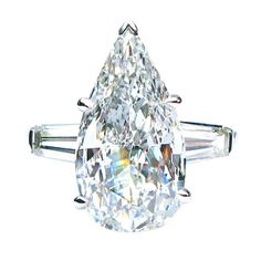 Pear Shape GIA 5.01ct Diamond Ring | From a unique collection of vintage engagement rings at http://www.1stdibs.com/rings/engagement-rings/