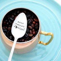Sarcastic Gift DECAF is for PUSSIES Hand Stamped Coffee Spoon Funny Coffee Gift Hand Stamped Vintage Teaspoon Swear words. Coffee Quote