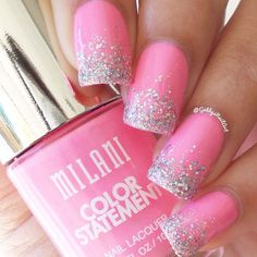 "Instagram media by gabbysnailart - Simple glitter gradient The pink is Milani-""Bombshell"""