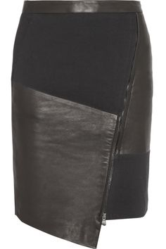 Tibi | Asymmetric leather and ponte skirt