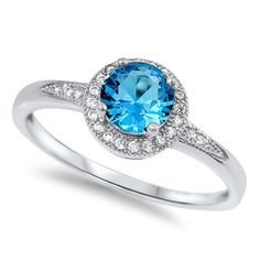 Vintage Solitaire Accent Halo 925 Sterling Silver 1.20 Carat Round Swiss Blue Topaz CZ Clear CZ Halo Wedding Engagement Anniversary Ring