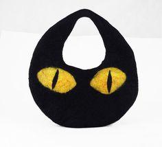 Felted Cat Bag Felted Handbag Cat Purse Clutch Felt Nunofelt Nuno felt Silk black Fiber Art boho