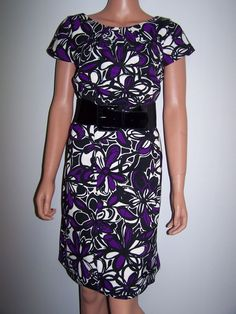 Tiana B. Size 10 Dress Multi Color Floral Belted Cap Sleeve  #TianaB #Sheath #WeartoWork