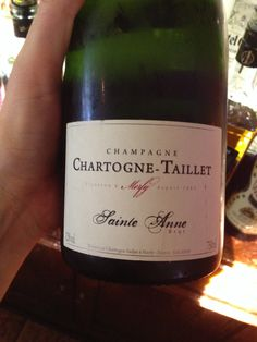 """Chartogne-Taillet """"Cuvée St. Anne"""" Brut Champagne NV *95% of grapes are estate grown, which is necessary for champagne *60% Chardonnay, 40% Pinot Noir (most champagnes are mostly Pinot noir and Pinot Meunière, so the Chardonnay adds to the richness)  *toasted brioche, apples and cinnamon on nose (apple cake) *Richly textured *Hint of a cocoa powder on palate *Great acidity *$50-55 (because it is family owned, it helps keep the cost down)"""