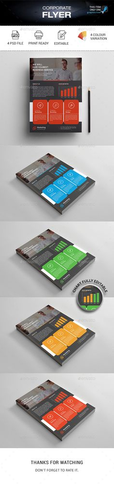 Corporate Flyer by madmindgraphics Features :Psd Files 4 Color variationEasy Customizable and Editable Print Size A4 Format with Bleed 3mm 300 Dpi Print Ready Format
