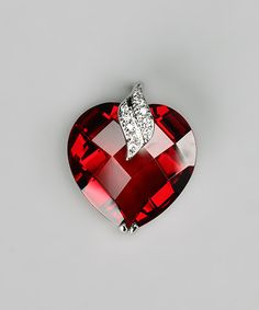 White Gold  #Red Gem Heart Pendant #zulily