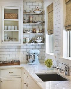 6th Street Design School: Tips for Doing a White Kitchen Dark Grout with white tiles. I like this best.