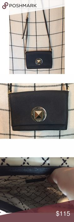 """KATE SPADE // Black Crossbody Adorable Kate Spade black cross body. Long adjustable black strap. Easy close over large gold stud in middle. Inside has one small open pocket. Fits IPhone with small wallet and a couple other things. About 6.5x4.5"""" and opens about 2.5-3"""". kate spade Bags Crossbody Bags"""
