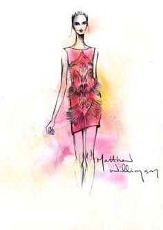 Matthew Williamson's Butterfly Swarovski dress sketch