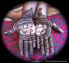 Save the Date in mehndi on Indian bride and groom's hands by Featured IWS Vendor, @Henna Lounge