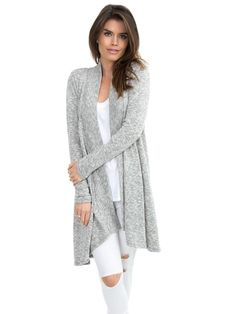 Cozy Marled Knit Open Cardigan