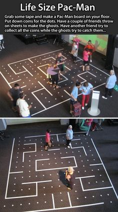 Life size Pac Man idea! Other really cool ideas are in this post as well. This would be great for the end of the year!