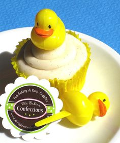 I will use them in the Jell-O instead.    Set of 24 Rubber Ducky Cupcake Picks or Cake Toppers by thebakersconfections, $6.50