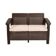 Corfu Brown All-Weather Patio Loveseat with Tan Cushions
