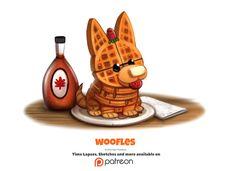 Cute art Daily Woofles by Cryptid-Creations Cute Food Drawings, Cute Animal Drawings, Kawaii Drawings, Cartoon Art, Cute Cartoon, Cartoon Drawings, Chibi, Animal Puns, Animal Food