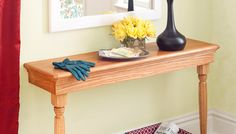 This narrow console table is a fitting addition to any entry. You don't have to be a woodworking pro to finish this table, it's recommended for intermediate skill levels.