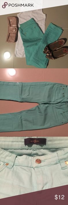 Mint jeans by Good Times Adorable, fitted mint jeans by Good Times. Bought at a boutique and worn only a few times. Jeans are a true size 5, but are pretty stretchy. Very comfortable and cute! 👖🚶🏽♀️ Jeans Skinny
