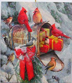 Santas Mailbox Birds Gifts Snow Glittered Christmas Ornament Greeting Card #Handmade