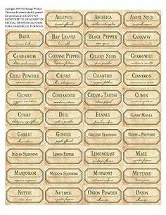 vintage spice labels