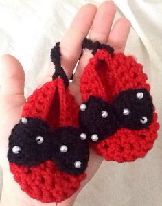 Red Crochet Girl Booties Crochet Baby Booties by BabyGirlsGlam