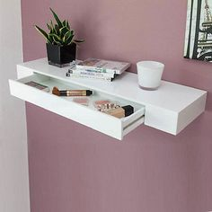 Two practical functions: This shelf offers space for .- Two practical functions: This shelf offers space for decoration and storage. On the other hand, the integrated drawer provides hidden storage space. Drawer Shelves, Wall Shelves, Shelving, Floating Drawer Shelf, New Swedish Design, Billy Regal, Victorian Decor, Hidden Storage, Decorating Blogs