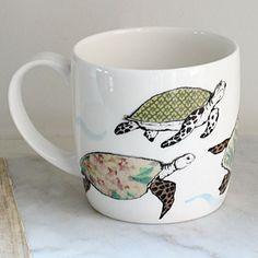 Anna Wright Splish Splosh shaped fine bone china mug Anna Wright, China Mugs, Mixed Media Collage, Bone China, Fantasy Art, Turtle, Wildlife, Presents, Textiles