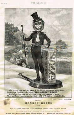 """Booke's Monkey Brand Soap"""" - """"SPEAKER"""" Antique Advertsing in The Graphic - 1897 #Vintage"""