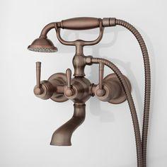Brunswick Wall-Mount Tub Faucet & Hand Shower - Oil Rubber Bronze