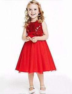 Flower Girl Dress Knee-length Tulle A-line/Princess Sleeveless Dress
