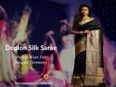 Lets ready for the upcoming sangeet ceremony with exclusive dupion silk sarees. Dupion Silk Saree, Sari, Let It Be, Saree, Saris