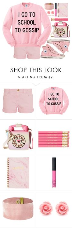 """""""Gossip Girl!"""" by simona-altobelli ❤ liked on Polyvore featuring Current/Elliott, Converse, Betsey Johnson, NARS Cosmetics, New Look, monochrome, school, fab and Pink"""