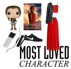 """Katniss Everdeen - Mockingjay Trilogy"" by pas1999 ❤ liked on Polyvore featuring WearAll, NIKE and Funko"