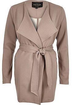River Island Womens Beige belted jersey jacket - $100.00