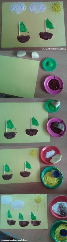 Manualidadesconmishijas: Cuadros infantiles para la habitacion de los niños con sellos de patata