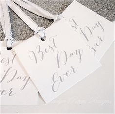 Best Day Ever Favor Tags - Choice Of Ribbon Color