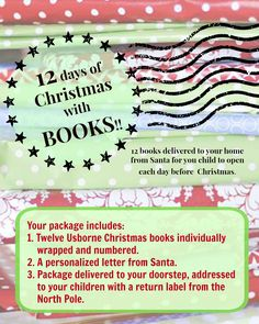 Start a new Christmas tradition! 12 days of Christmas with Books! Usborne Christmas books individually wrapped and delivered to your door from Santa. https://www.facebook.com/Cassidy-Grimes-Usborne-Books-More-154080724682999/?fref=ts