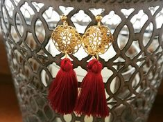 #orientaljewellery #orientalearrings #goldearrings #rosette #with #red #tassels #silverjewellery
