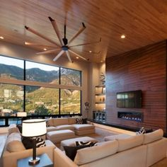 Good Looking Modern Living Room With Unique Modern Ceiling Fan With Long  Blades