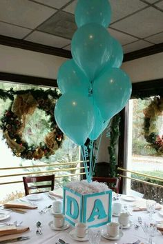 Aqua Ballons Centerpiece. Balloon CenterpiecesBaby Shower ...