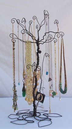 Wire Necklace Stand jewelry Tree Holder Metal Sculpture