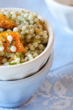 Israeli Couscous with Butternut Squash and Cilantro Sauce