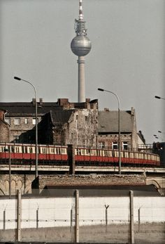 S-bahn train with the Fernsehturm in the background, Berlin, 1989