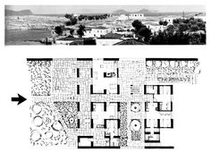 """House for two families at Kouzounos Kouzounos - Spetses, Attica, Greece; Aris Konstantinidis """"see map """" Rendering Techniques, How To Plan, Architecture, Villas, Houses, Spaces, Holiday, Collection, Vernacular Architecture"""